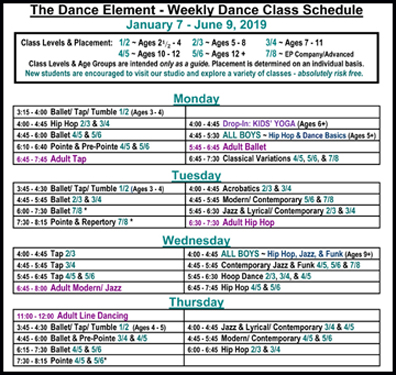 Schedule of ballet, hip hop, & Dance Classes for kids & adults in Wilmington NC.