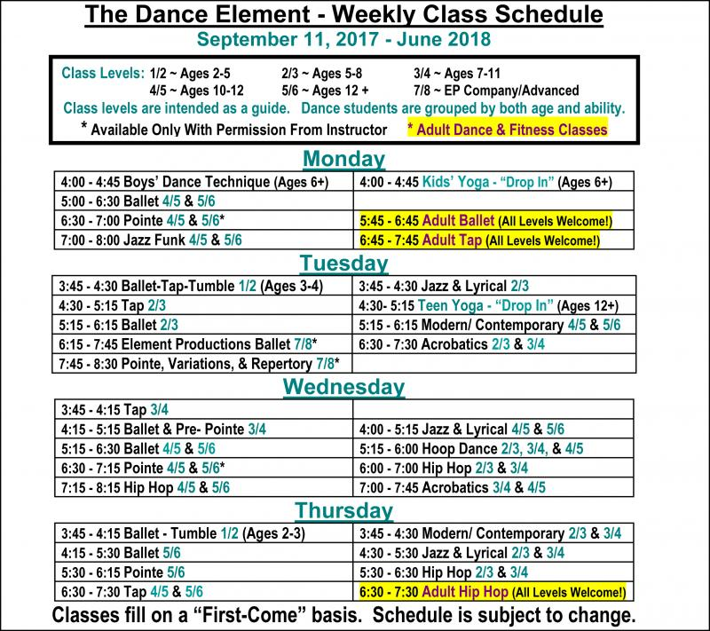 Fall 2017 Schedule of Ballet, Hip Hop, & Dance Classes for Adults.