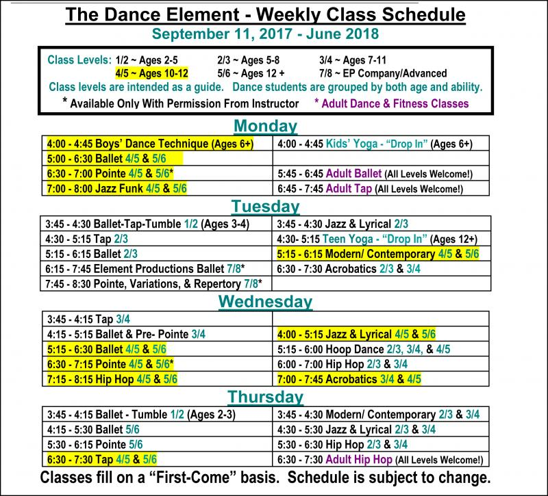 Fall 2017 Schedule Ballet, Hip Hop & Dance Classes for preteens in Wilmington NC