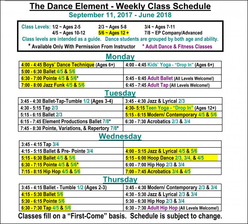 Fall 2017 Schedule Ballet, Hip Hop & Dance Classes for teenagers in Wilmington