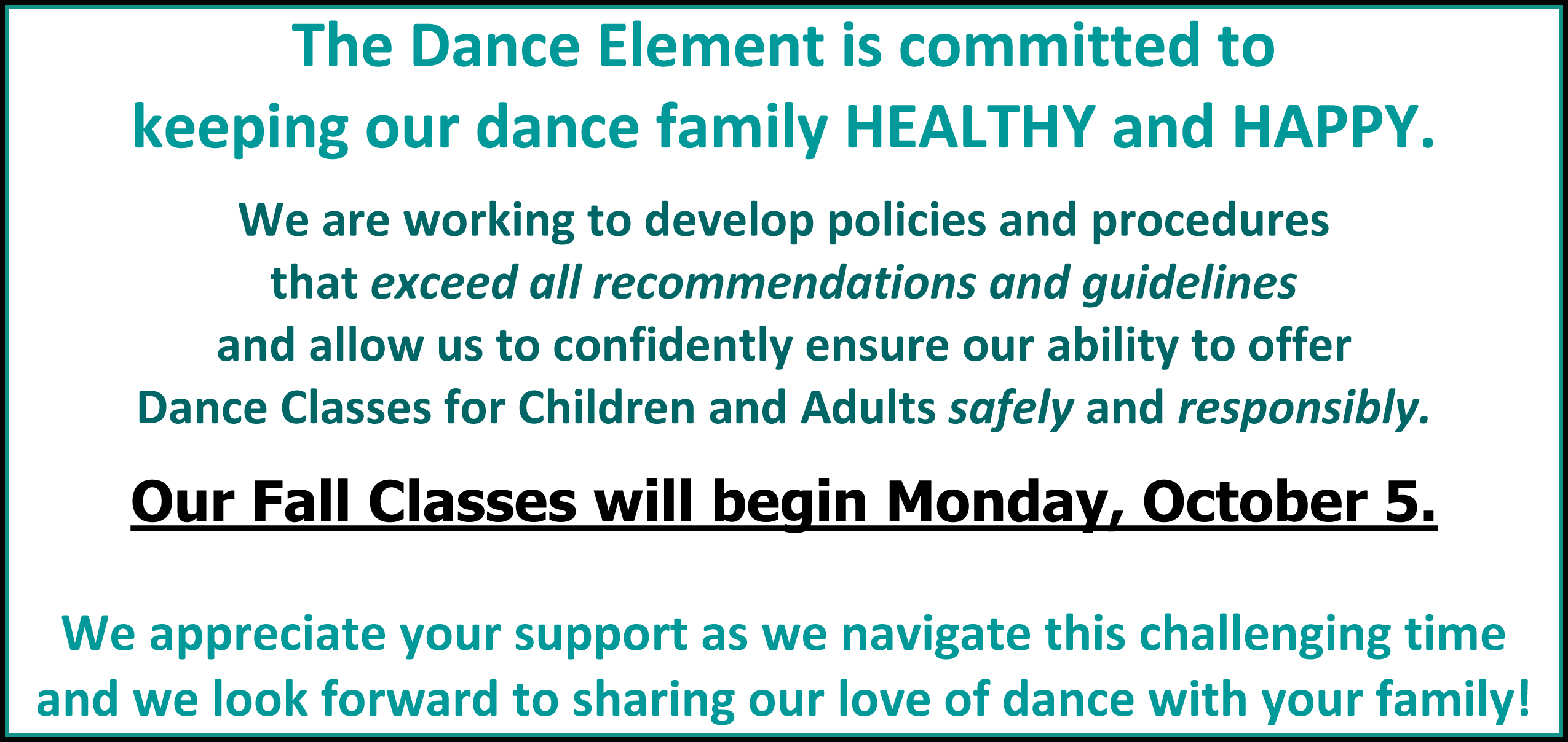 Wilmington NC Dance Classes Begin October 5, 2020!