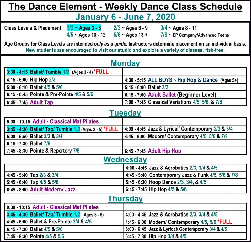 Schedule of Ballet & Dance Classes for 3, 4, & 5 year olds in Wilmington NC.