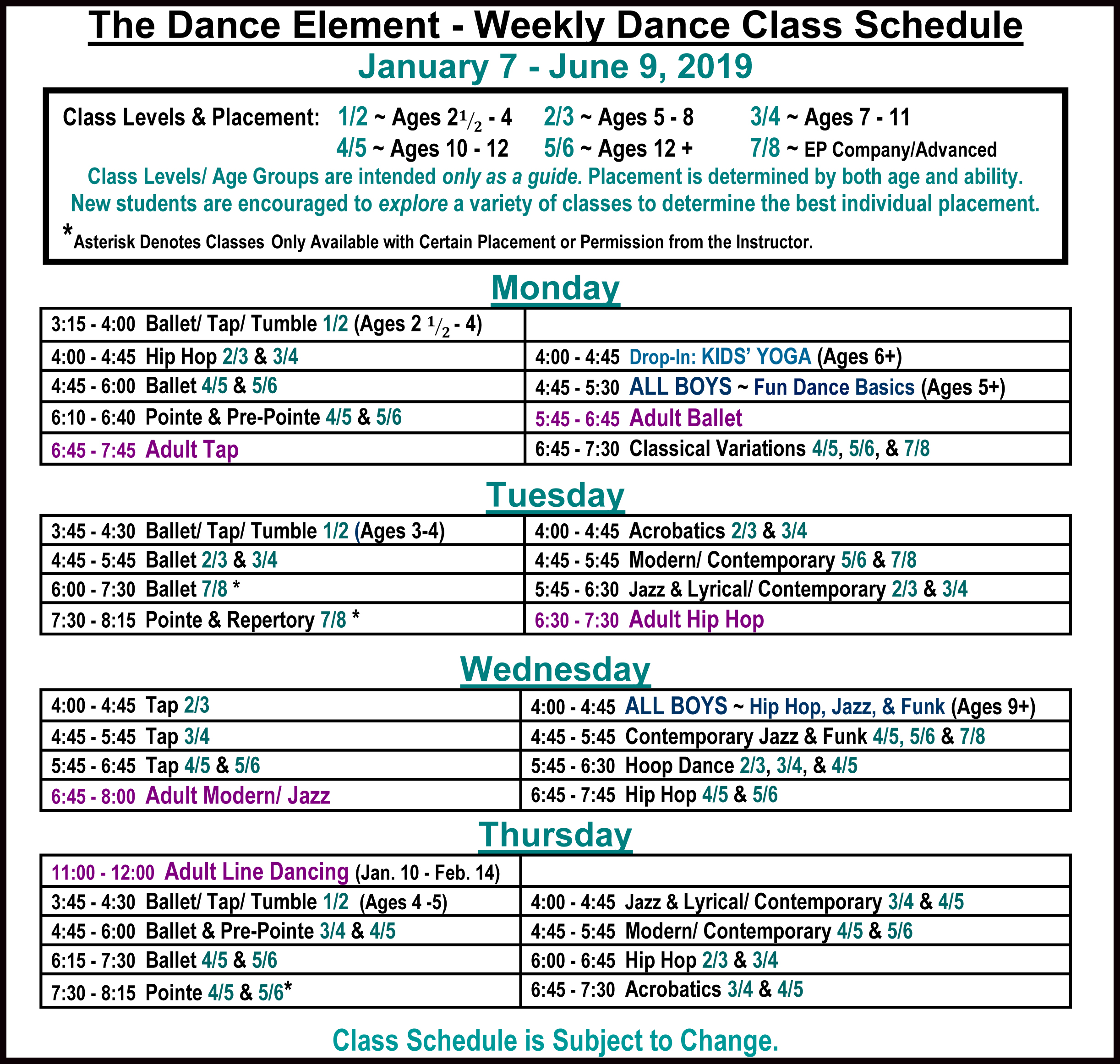 2019 Schedule of Ballet, Hip Hop, & Dance Classes in Wilmington NC