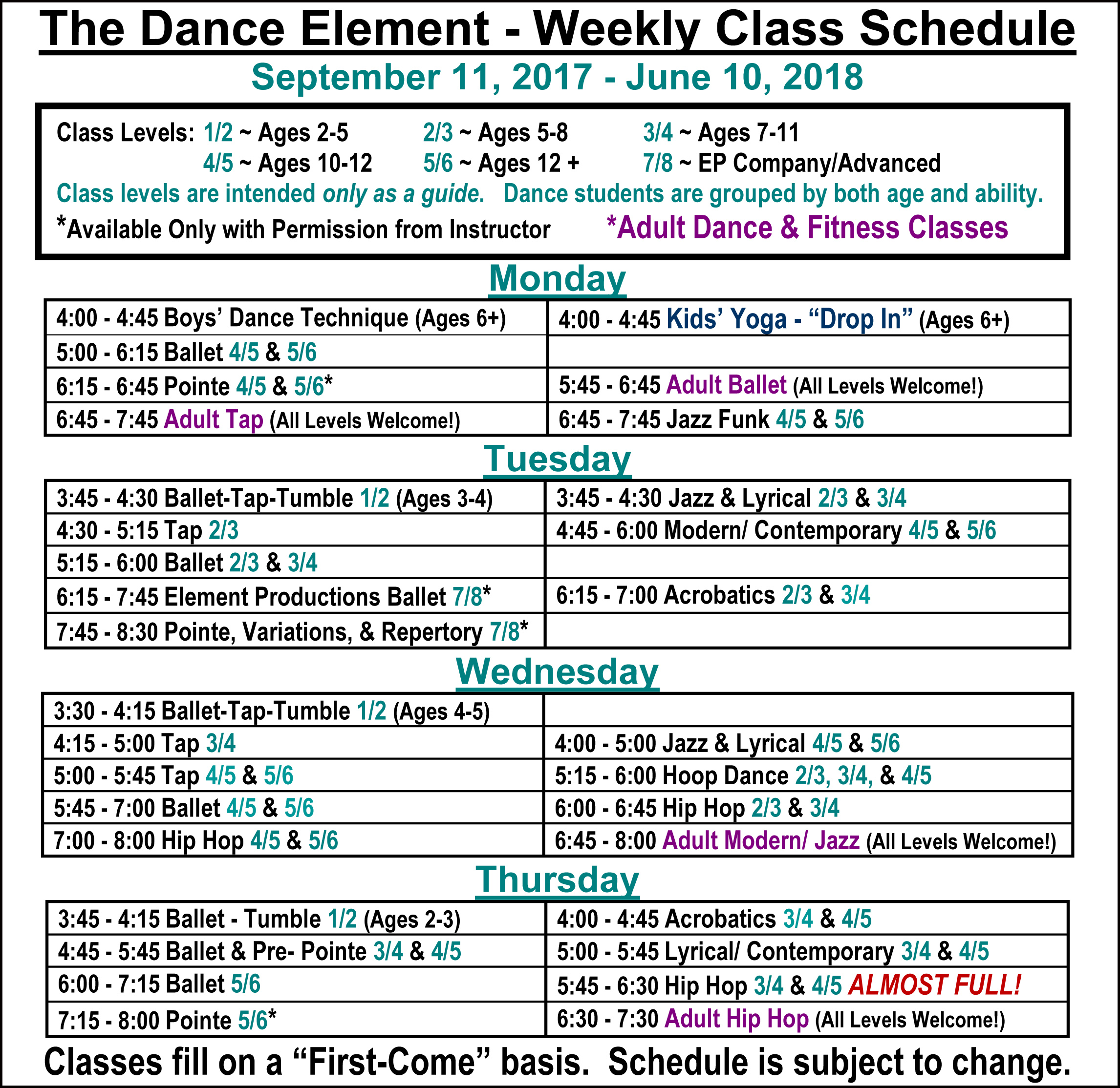 Fall 2017 Ballet, Hip Hop, & Dance Classes for Kids & Adults in Wilmington NC