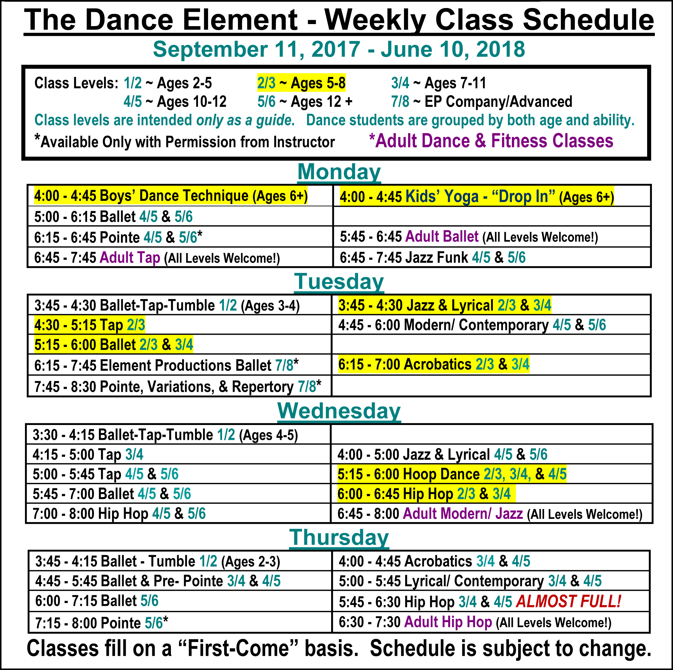 Fall Hip Hop & Dance Classes for elementary school boys & girls in Wilmington NC