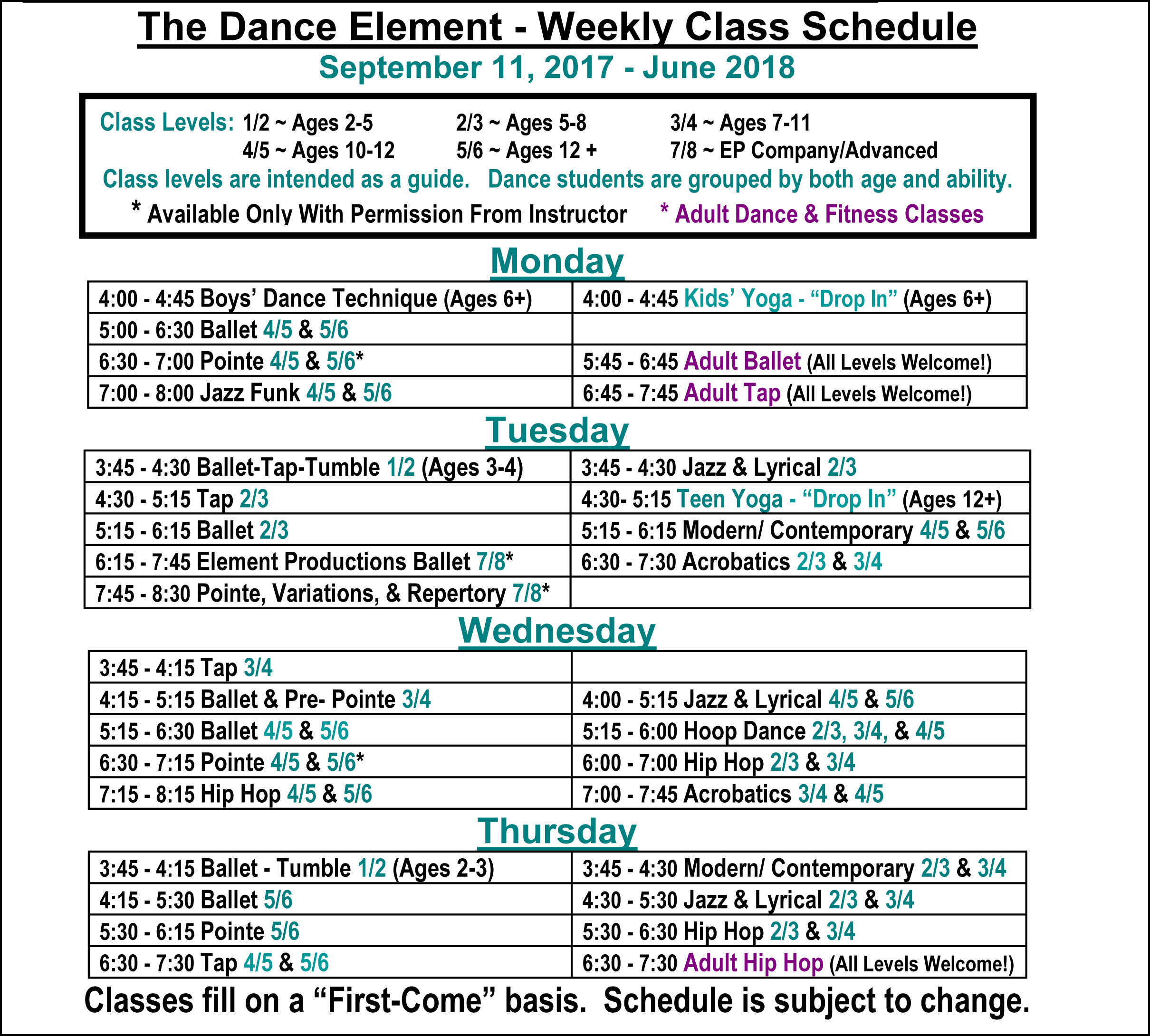 Fall 2017 Schedule Ballet & Dance Classes for Kids & Adults in Wilmington NC