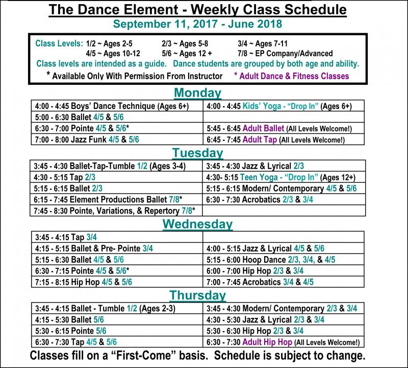 Fall 2017 Schedule of Ballet, Hip Hop, & Dance Classes for Children & Adults.