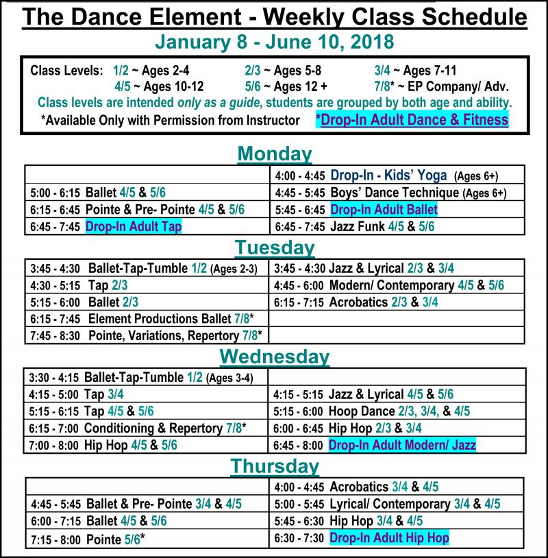 Schedule of Ballet, Hip Hop, & Dance Classes for Adults, in Wilmington NC