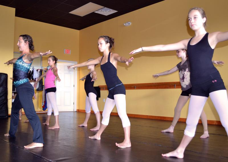 Kids participateing in a Yoga class at the dance element near Hampstead NC