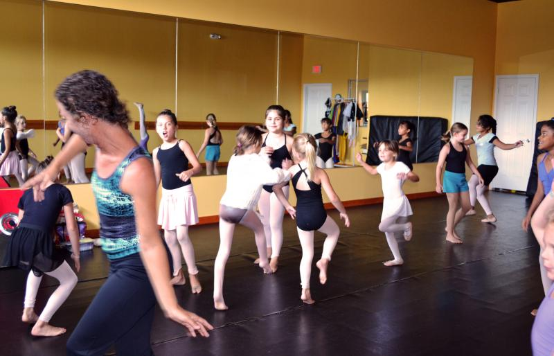 Kids participating in Yoga Classes at The Dance Element studio in Wilmington NC
