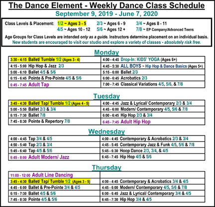 Fall 2019 Schedule of Ballet, Hip Hop, Dance Classes for Kids in Wilmington NC