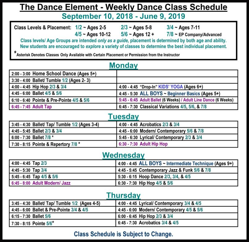 Fall 2018 Schedule of ballet, hip hop, & dance classes in Wilmington NC