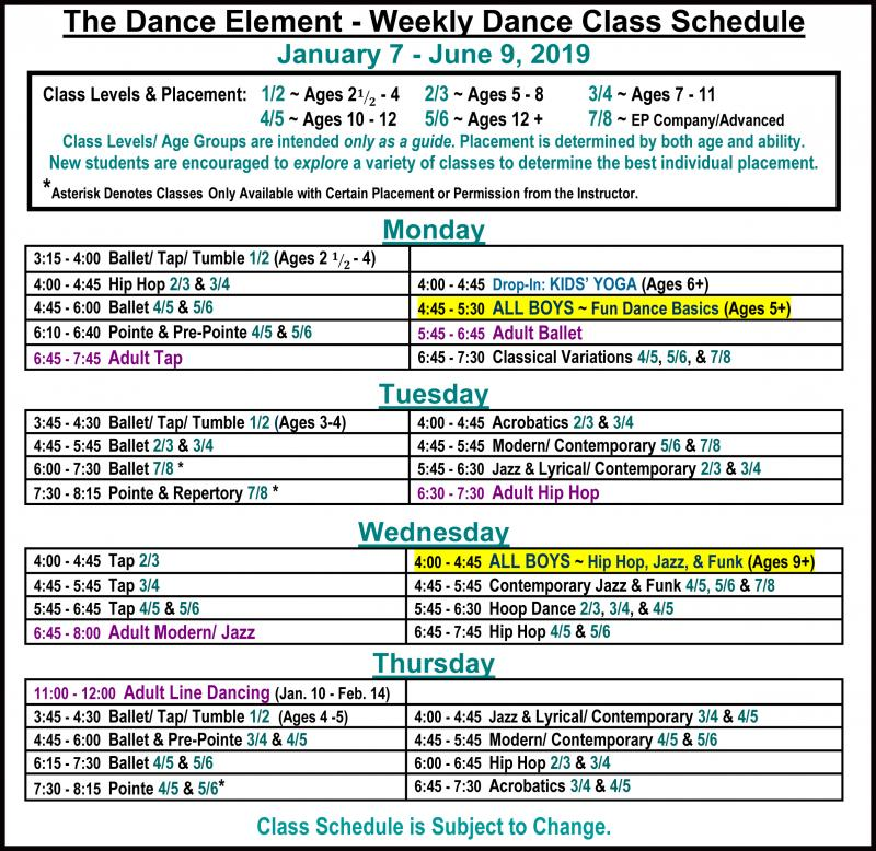 Schedule of Hip Hop, Jazz, & Dance Classes for Boys in Wilmington NC
