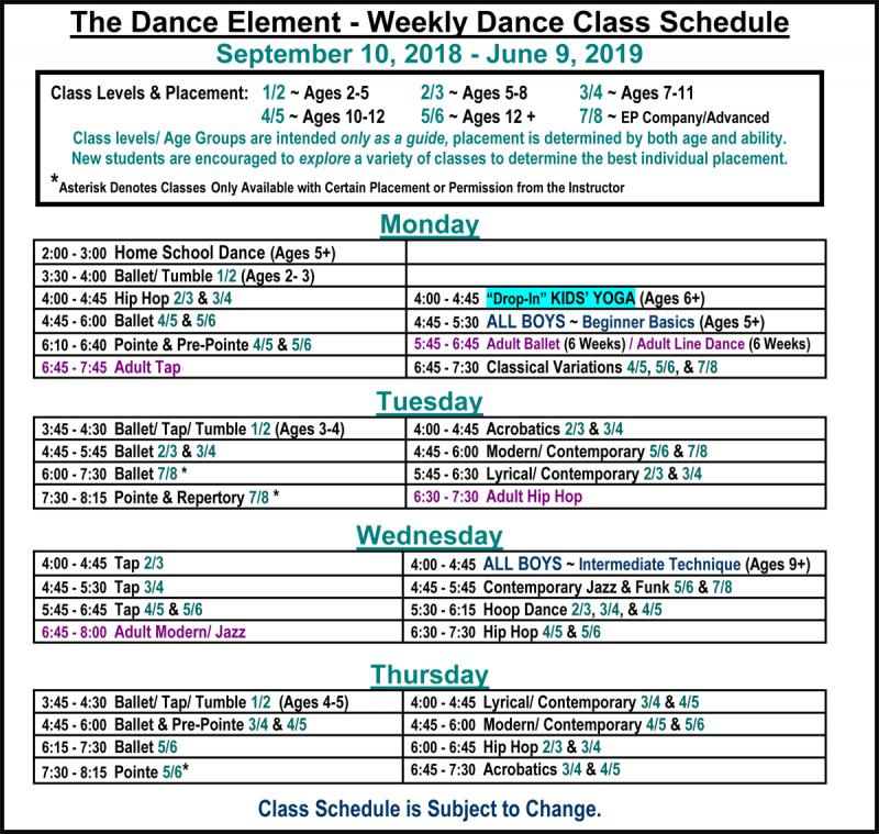 Weekly Schedule Yoga Classes for Children at The Dance Element in Wilmington NC