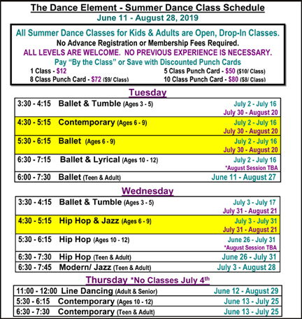 Summer Ballet, Hip Hop, & Dance Classes for Age 6, 7, 8, & 9 in Wilmington NC