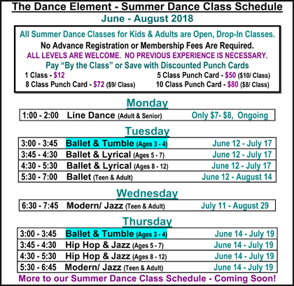 Summer Ballet & Tumbling Classes are a chance for preschoolers to try dance!