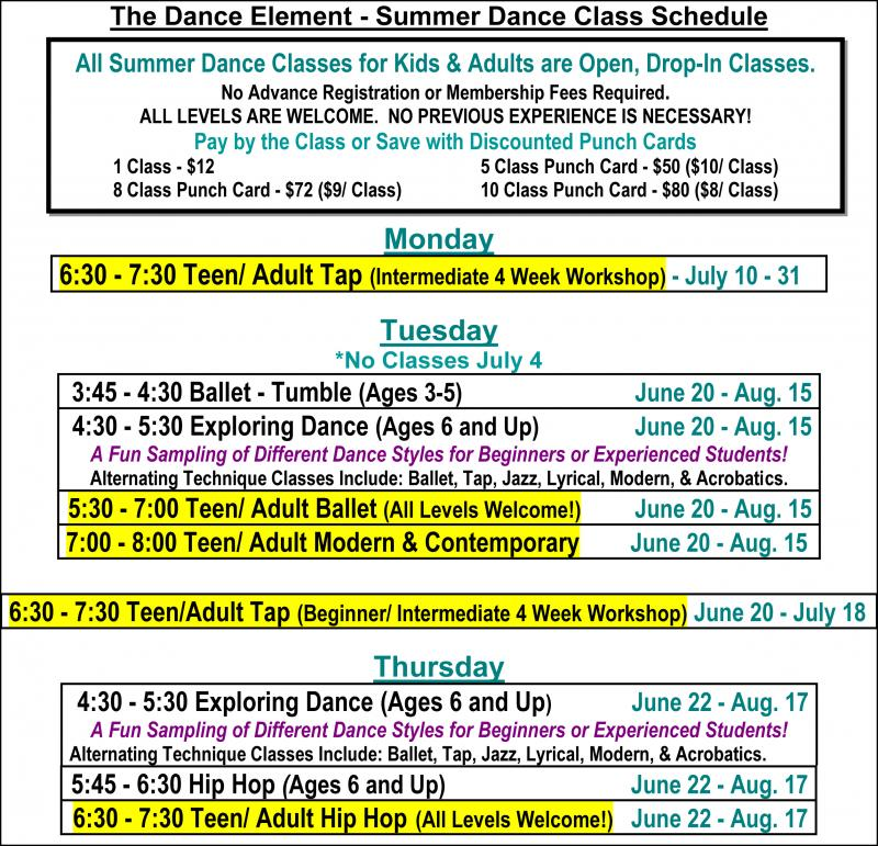 Summer Ballet, Hip Hop, Tap, & Dance Classes for Teenagers in Wilmington NC