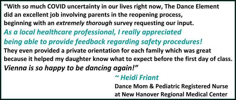 Testimonial for health and safety precautions at The Dance Element dance studio.