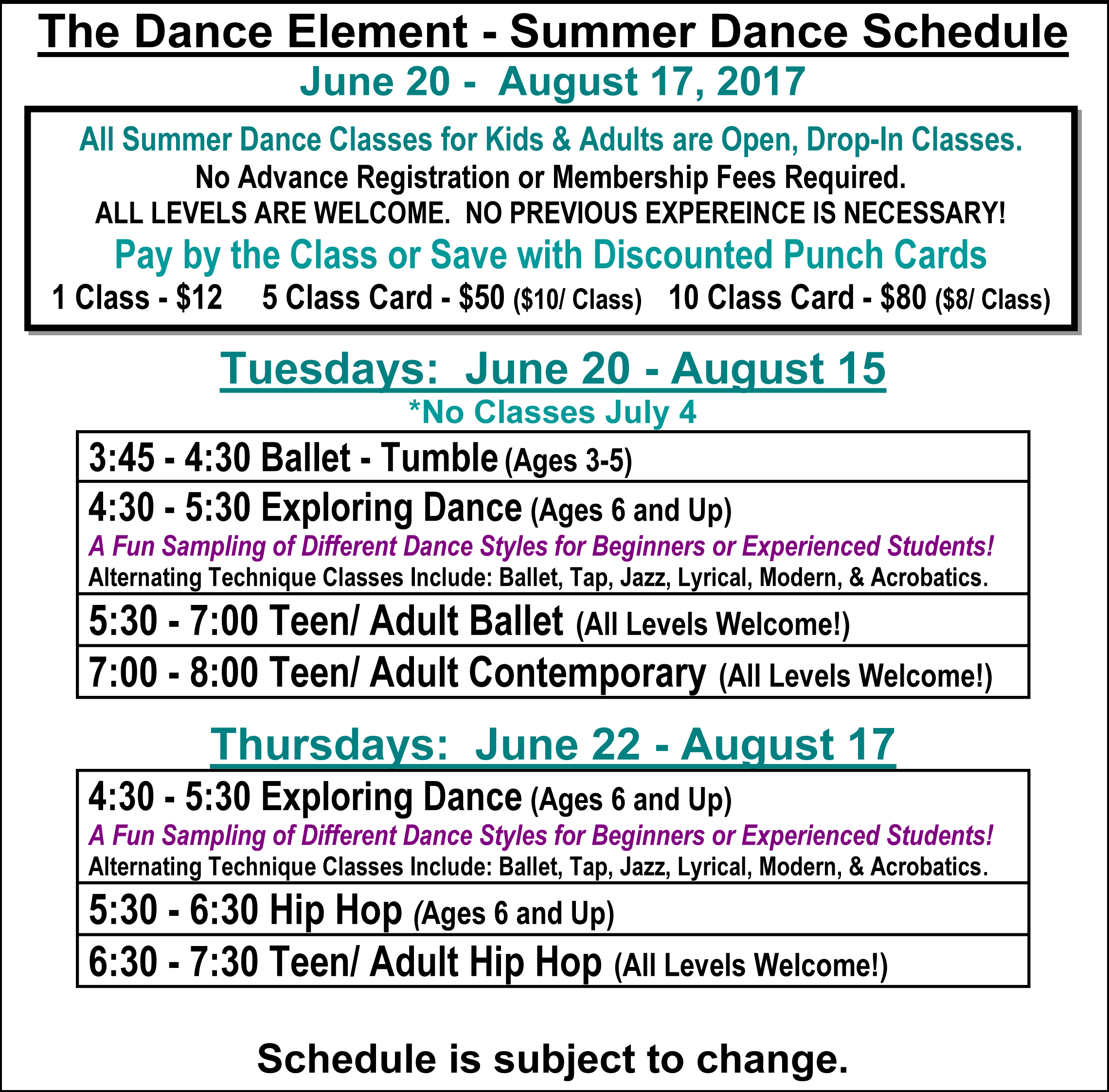 Summer Ballet, Hip Hop, & Dance Classes for Kids & Adults in Wilmington NC