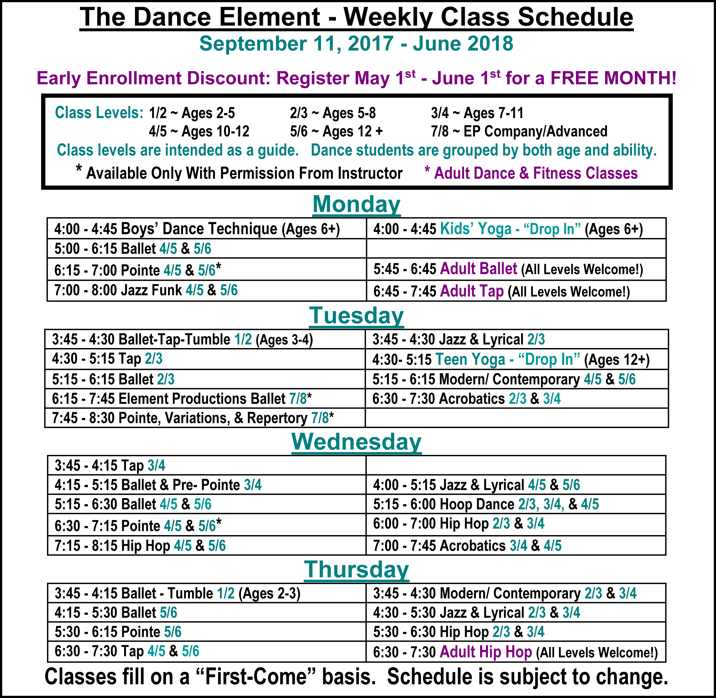 Schedule of Ballet, Hip Hop, & Dance Classes for Kids & Adults in Wilmington NC