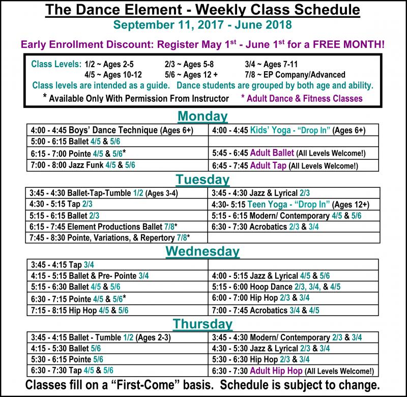 Fall 2017 Schedule Ballet & Dance Classes for Kids & Adults at in Wilmington NC