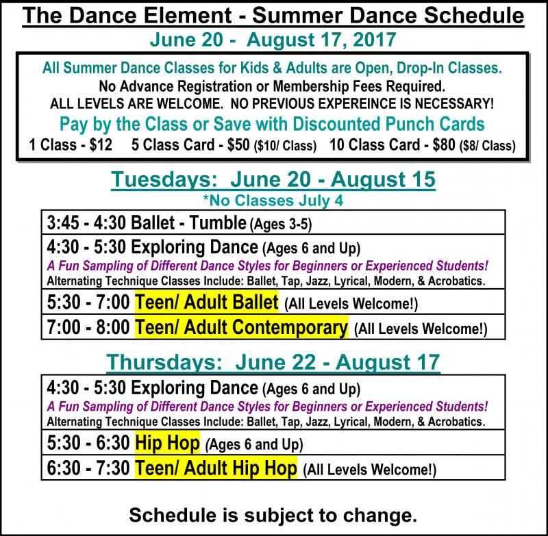 Summer Ballet, Hip Hop, & Dance Classes for Teens & Adults in Wilmingotn NC