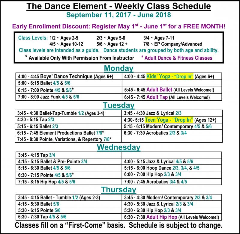 Weekly Schedule of Yoga classes for kids, teens, & Adults at The Dance Element